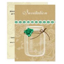 burlap and emerald  rose mason jar wedding invites