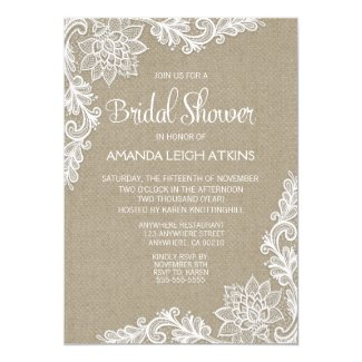 Burlap and Floral Lace Bridal Shower Invitations