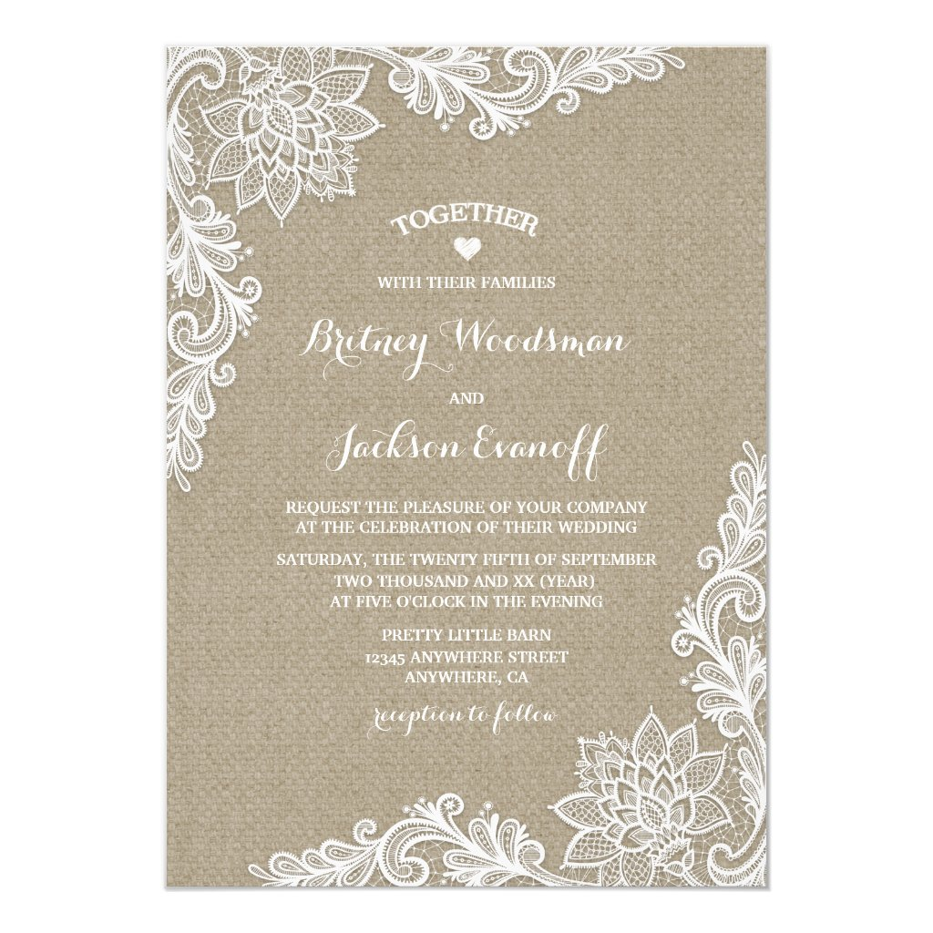 Burlap and Lace Wedding Invitation