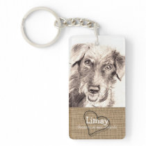 Burlap and Heart Pet Memorial Keychain with Poem 2