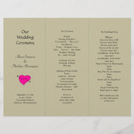 burlap and heart tri fold wedding program template