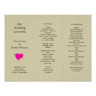 Burlap and Heart Tri-fold Wedding Program Template Letterhead
