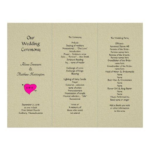 Examples Of Tri Fold Wedding Programs
