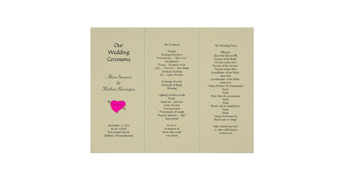 Burlap And Heart Tri Fold Wedding Program Template Letterhead