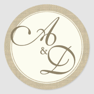 Burlap and Ivory Monogram Classic Round Sticker