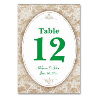 Burlap and Lace and Green Table Number Card