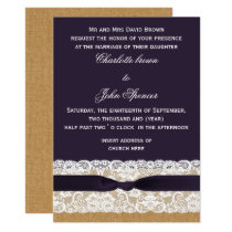 Burlap and lace and purple wedding card