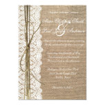 Burlap and Lace and twine bow Wedding Invitation