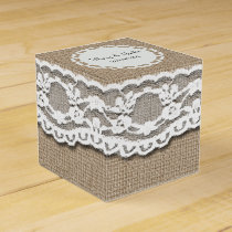 Burlap and Lace Art Favor Box
