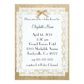 Burlap and Lace-Baby Shower 5x7 Paper Invitation Card