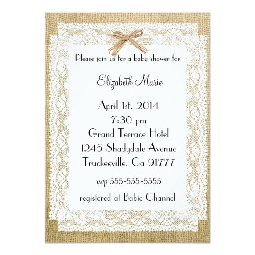 Burlap and Lace-Baby Shower Announcements