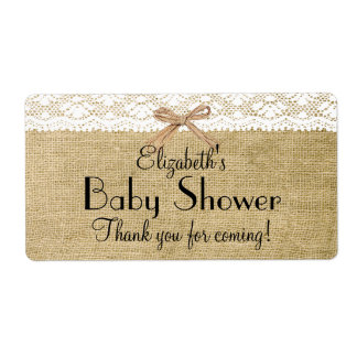 Burlap and Lace Baby Shower-Thank You Label