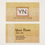 burlap and lace background business card