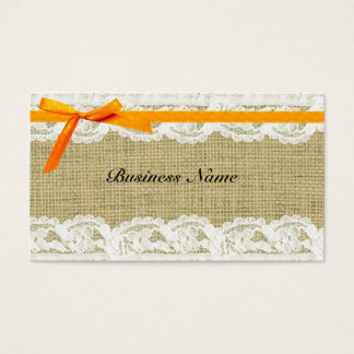 Burlap and Lace Beige orange Bow shabby chic Business Card