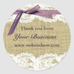 Burlap and Lace Beige Purple Bow shabby chic label Round Stickers