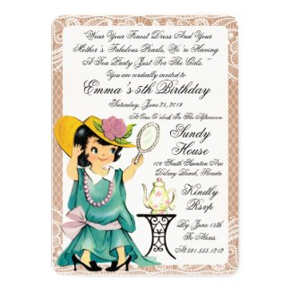 Burlap and Lace Birthday Tea Party Invitation