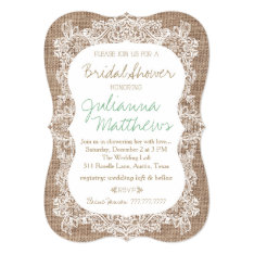 Burlap and Lace Bridal Shower Card at Zazzle