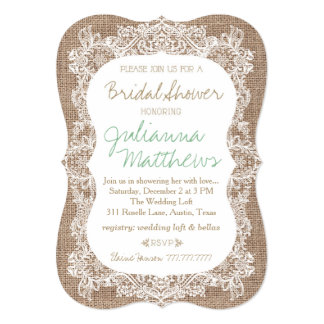 Burlap and Lace Bridal Shower Card