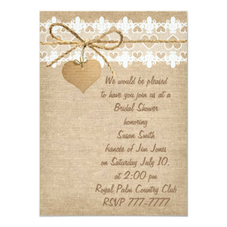 Burlap and Lace Bridal Shower Invitation