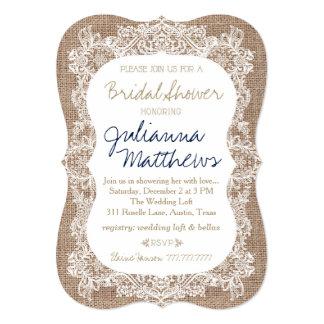 Burlap and Lace Bridal Shower Khaki Navy Card