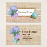 burlap and lace Burlap Barn Hydrange business card