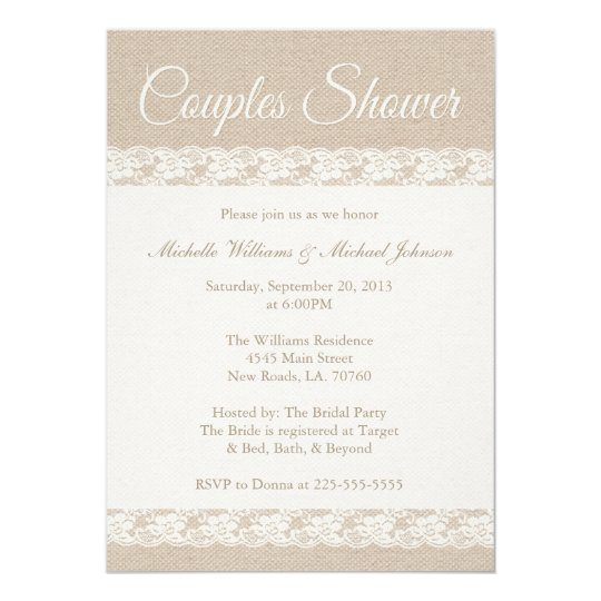 Burlap and Lace | Couples Shower Card