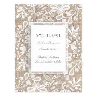 Burlap and Lace Elegant Save the Date Postcard