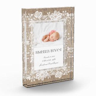 Burlap and Lace Elegant Sweet Photo Acrylic Award