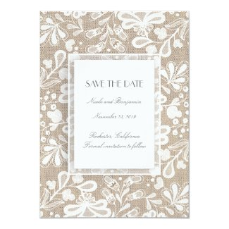 Burlap and Lace Elegant Vintage Save the Date Card