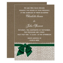 burlap and lace emerald wedding card