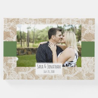 Burlap and Lace Green Photo Wedding Guest Book