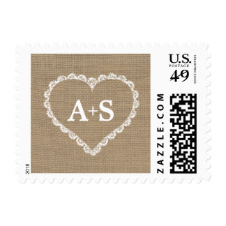 Burlap and Lace Heart monogram initials wedding Postage