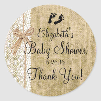 Burlap and Lace Image Baby Shower-Favor Classic Round Sticker