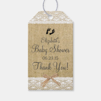 Burlap and Lace Image- Baby Shower Gift Tags