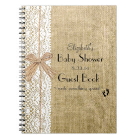Burlap and Lace IMAGE- Baby Shower Guest Book- Spiral Notebooks