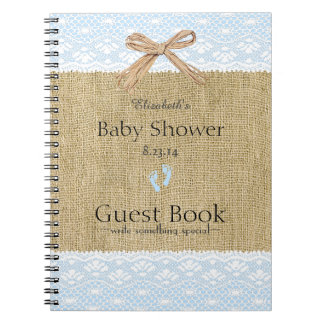 Burlap and Lace Image Blue Baby Shower Guest Book- Spiral Notebook