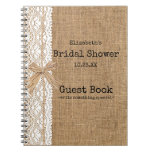 Burlap And Lace Image Bridal Shower Guest Book at Zazzle