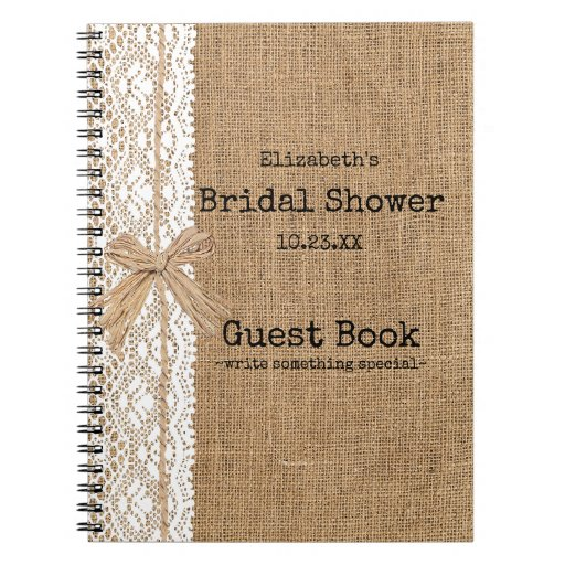 Burlap and Lace Image Bridal Shower Guest Book