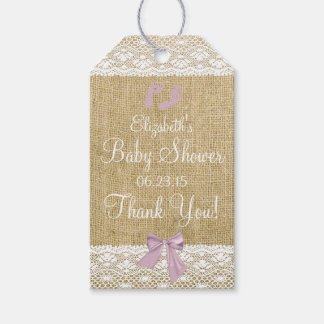 Burlap and Lace Image Lavender Bow Baby Shower Pack Of Gift Tags