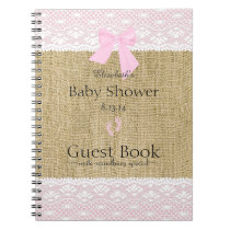 Burlap and Lace Image Pink Baby Shower Guest Book- Notebook