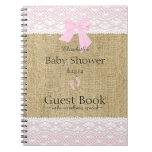 Burlap and Lace Image Pink Baby Shower Guest Book- Spiral Note Books