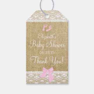 Burlap and Lace Image with Pink Bow Baby Shower Gift Tags