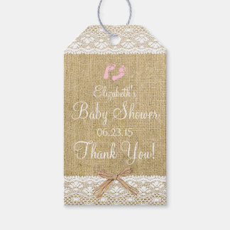 Burlap and Lace Image With Pink Footprints Gift Tags