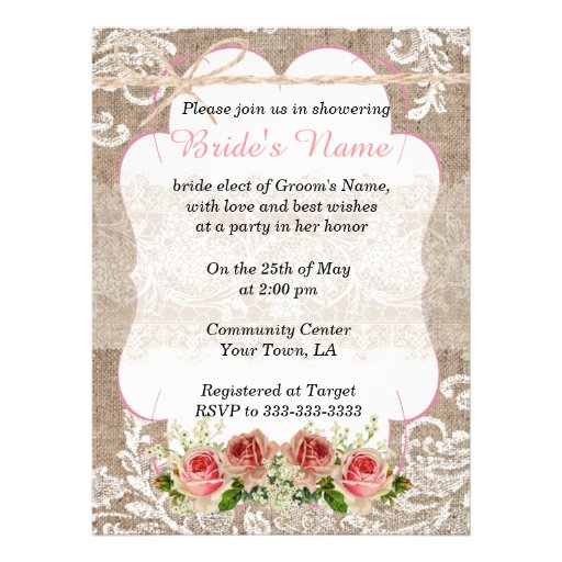 Burlap and Lace Personalized Invite