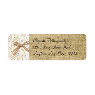 Burlap and Lace Look Label