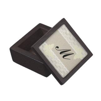 Burlap And Lace Monogram Keepsake Box