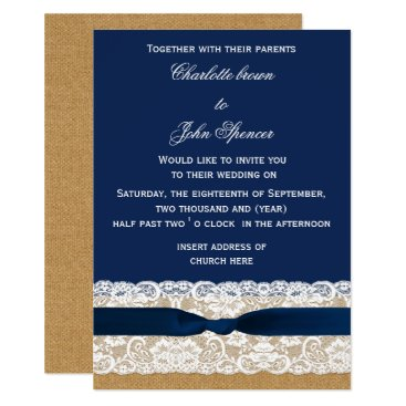 Burlap and Lace Navy Wedding Card