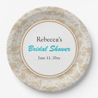 Burlap and Lace Personalized Bridal Shower 9 Inch Paper Plate