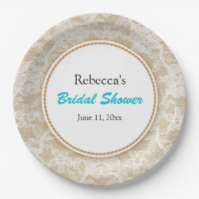 Burlap and Lace Personalized Bridal Shower 9 Inch Paper Plate  sc 1 st  Pretty Pattern Gifts & Personalized Paper Plates - Pretty Pattern Gifts