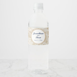 Burlap and Lace Personalized Wedding Water Bottle Label